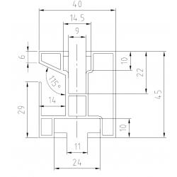 Hliníkový profil HNP1 - 40x45 mm - délka 3,15 m